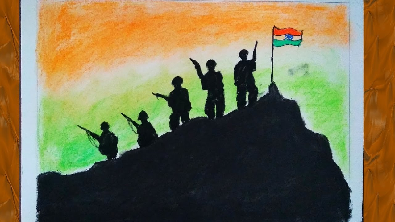How To Draw Indian Army Drawing With Indian Flag Happy Independence Day Drawing