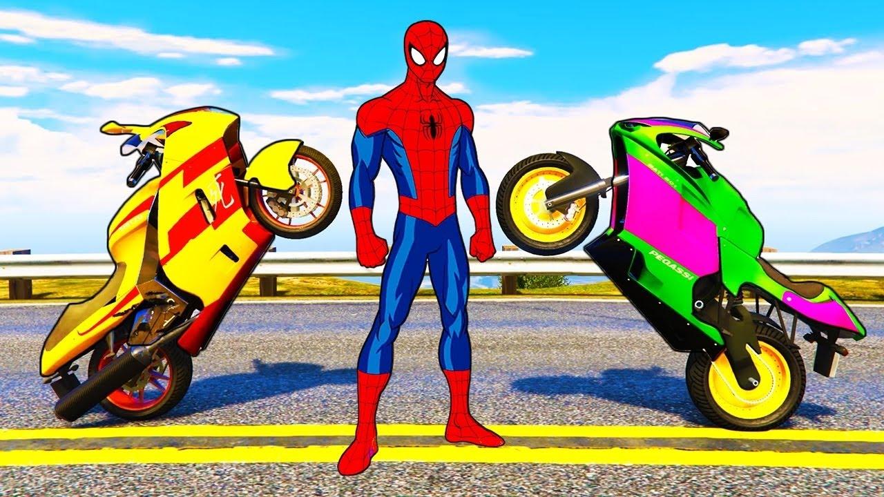 Spiderman et couleur motos pour les enfants dessin anim de voitures dr les avec des youtube - Spider man moto ...