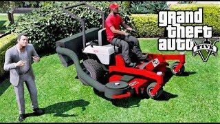 GTA 5 REAL LIFE MOD Lawn Care Company - Exmark Lawn Mower Cutting Michael's Grass