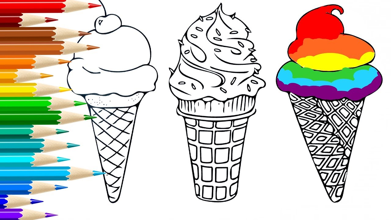 how to draw ice cream coloring pages for kids songs learn drawing