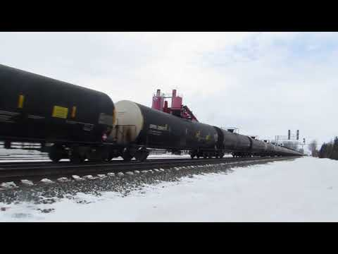 NS eastbound oil train with some foreign power at Wauseon, OH!