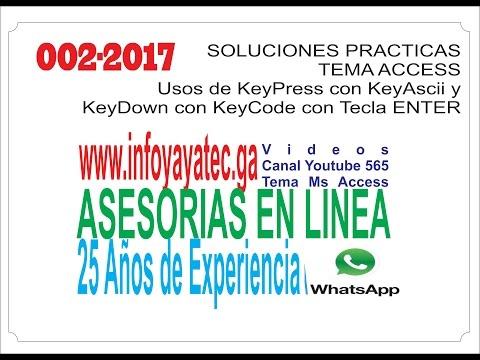Access Usos en KeyPress y KeyDown vs KeyAscii y KeyCode