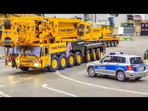 Incredible RC crane and equipment trucks convoy!