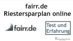 Fairr.de - günstiger Riestersparplan online - Test und Erfahrung