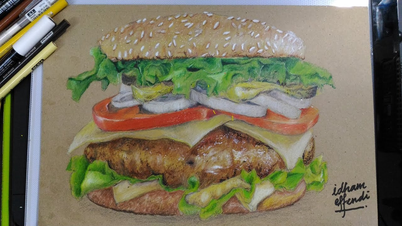 Realistic drawing 3d burger time lapse