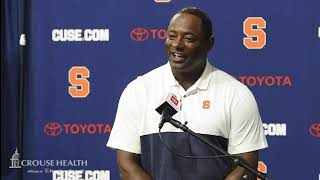 Dino Babers postgame news conference after Syracuse football at Liberty (2019)