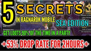 5 Secrets in Ragnarok M: Eternal Love (SEA EDITION) +53% DROP RATE FOR 2 hours and UP!