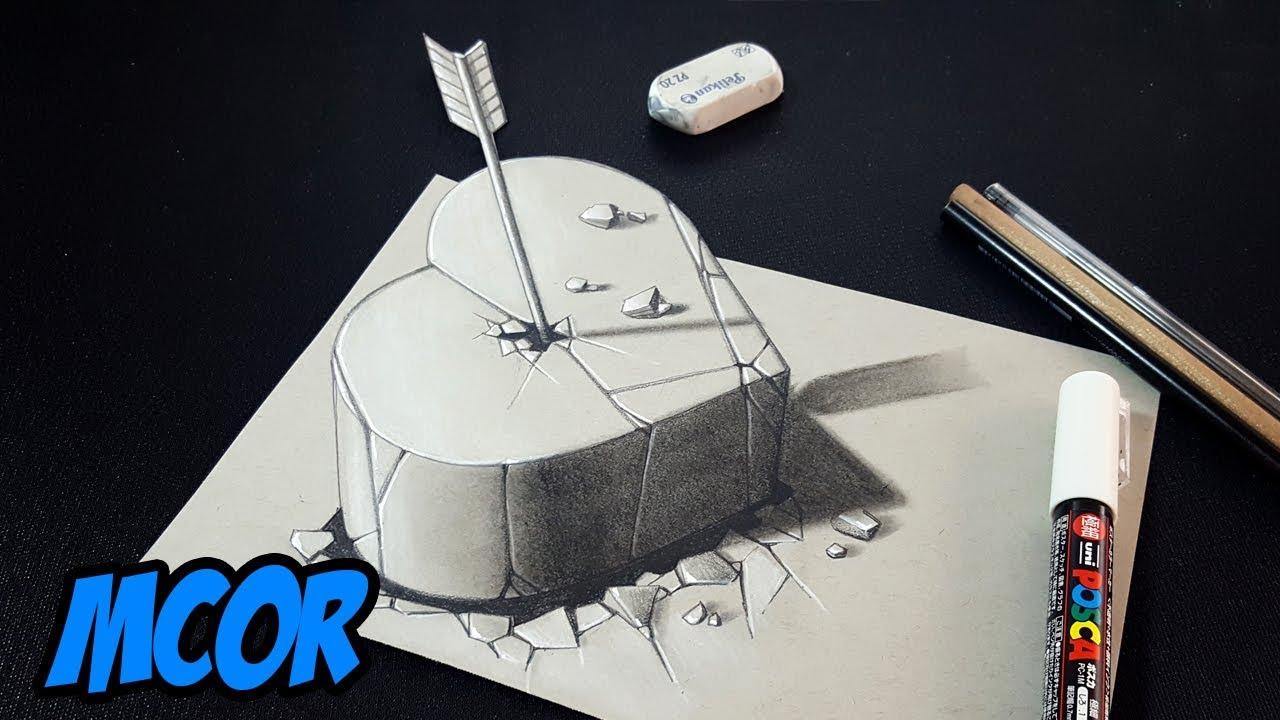 como dibujar un corazon de piedra 3d arte 3d en papel youtube. Black Bedroom Furniture Sets. Home Design Ideas