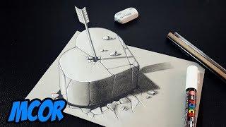 Como Dibujar un Corazon de Piedra 3D - Arte 3D en Papel