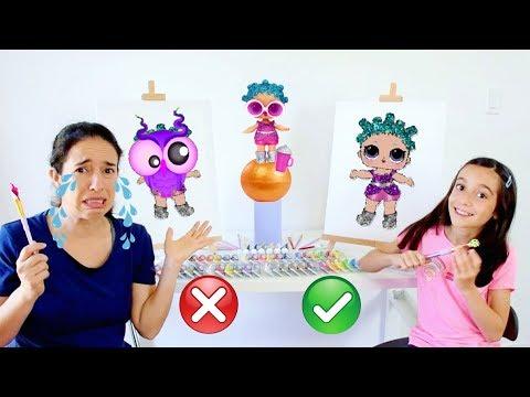 DESAFIO PINTANDO LOL SURPRESA série GLITTER!!! ★ Fazendo arte com Mamãe (PAINT EACH OTHER CHALLENGE)