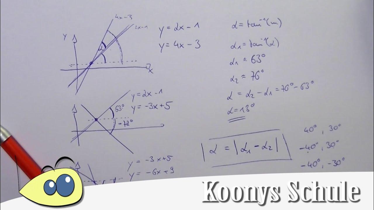 Schnittwinkel zwischen 2 Geraden - 3 Fälle eine Formel | Tangens ...