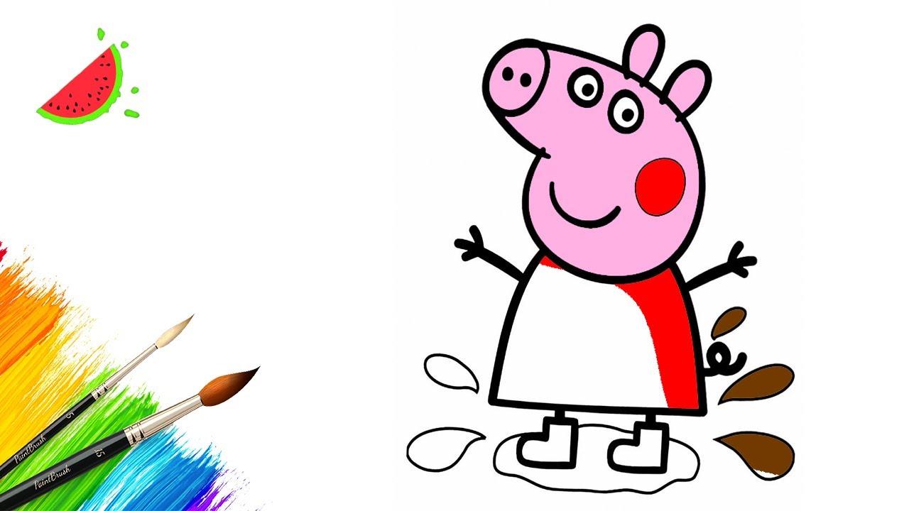 Как нарисовать СВИНКУ ПЕППУ / Раскраски для малышей - YouTube