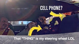 COP MISTAKES LAMBORGHINI STEERING WHEEL FOR A CELL PHONE!!