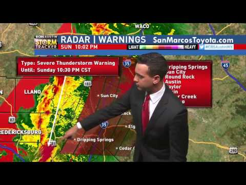 CBS Austin Severe Weather Coverage, 10PM Sunday Night-Tornado Watch. TOR Warning SW. Collin Myers