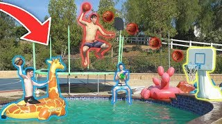 CRAZY TRAMPOLINE POOL MINI BASKETBALL T...