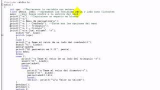 Ejemplo de programa con menu en C con switch case