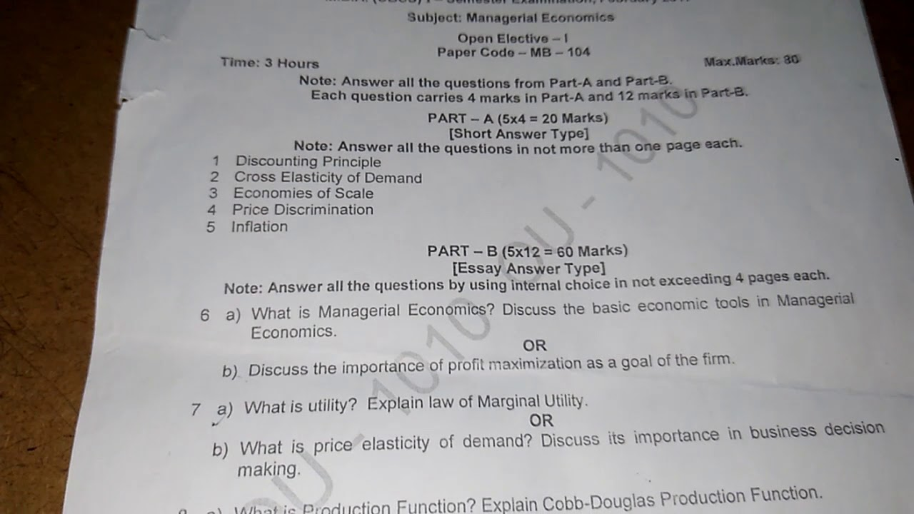 Managerial Economics OU MBA PREVIOUS YEAR QUESTION PAPER
