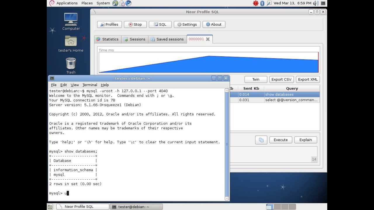 Neor Profile SQL v2 test connection (Linux Debian 6)