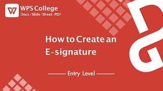 [PDF-Tutorial] Wie erstellt man ein E-Signatur Mit WPS-Office-PDF Tools