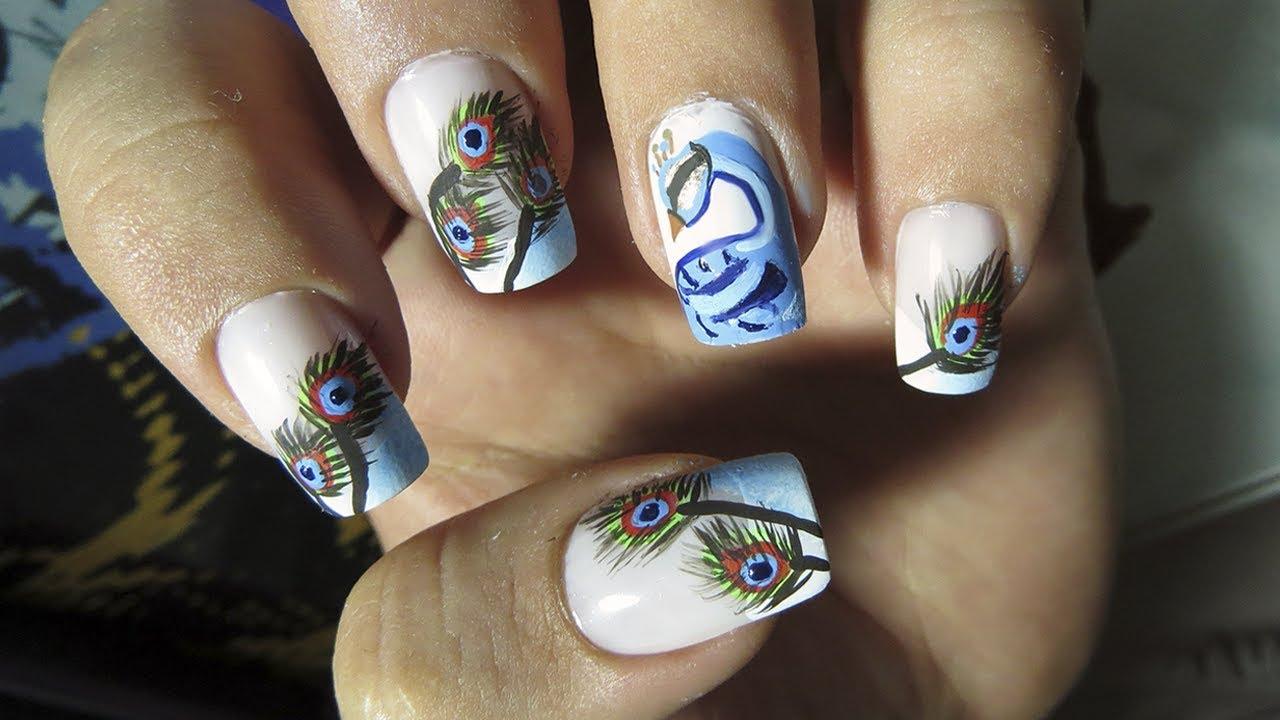 Diseños De Uñas Pavo Real Nail Art Tutorial Youtube