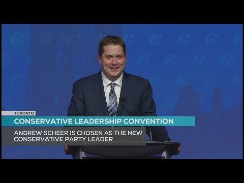 Andrew Scheer addresses the Conservative Party of Canada as its new leader