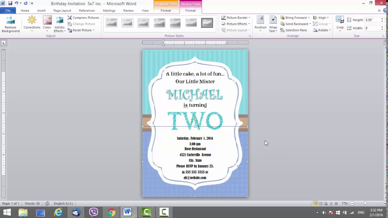 birthday invitation template for ms word youtube