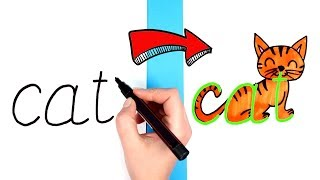 How to Turn Words Into Drawings Animal Names | Easy Word Drawings for Kids Cat Dog Fish Snail