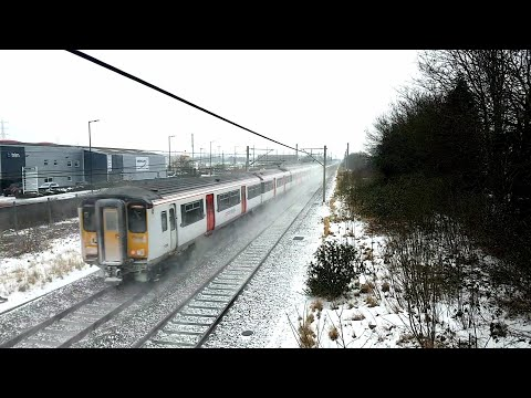 Greater Anglia Trains At Ponders End Station In The Snow, London.