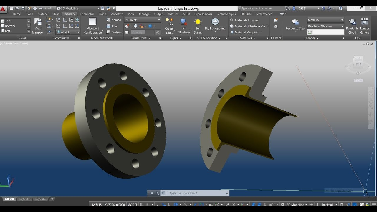 LAP JOINT PIPE FLANGE w/ STUB END in AutoCAD 3D