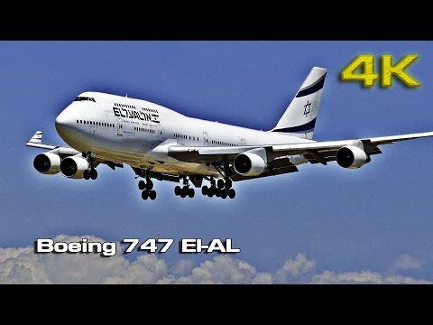 Boeing 747 El-AL (take off with banking) BCN [4K]