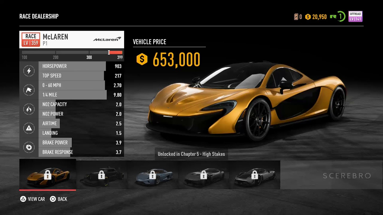 need for speed payback all cars prices on all. Black Bedroom Furniture Sets. Home Design Ideas