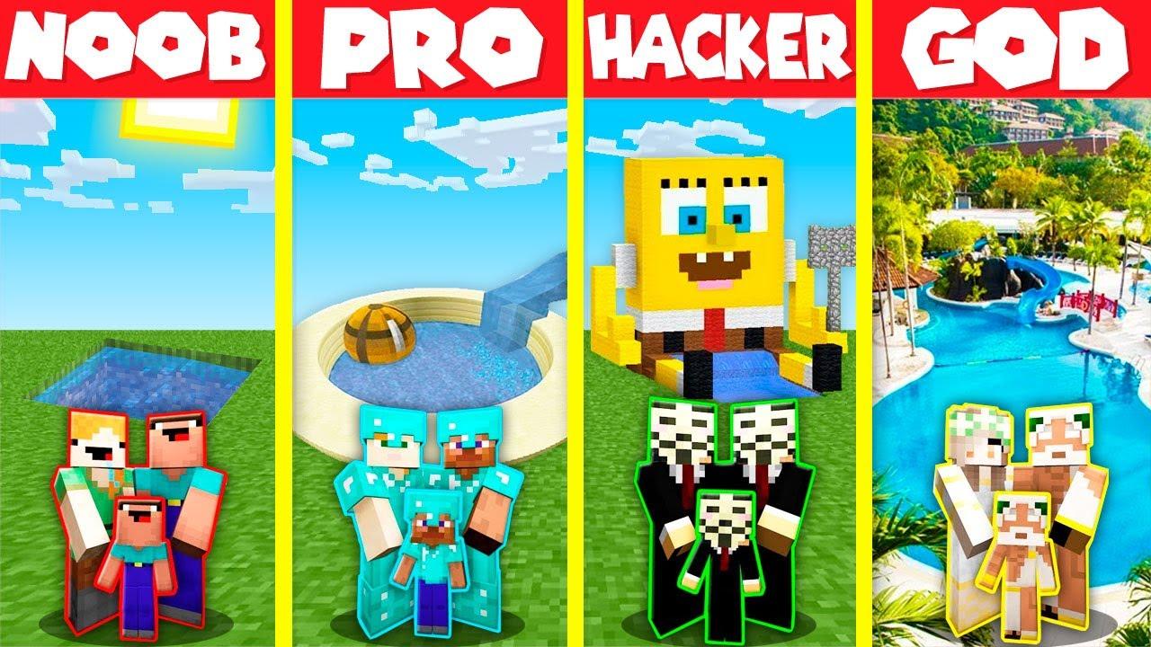 Minecraft Battle: SWIMMING POOL HOUSE BUILD CHALLENGE - NOOB vs PRO vs HACKER vs GOD / Animation