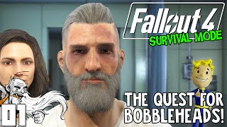 Fallout 4 Survival Mode Gameplay - THE QUEST FOR BOBBLEHEADS Ep 01