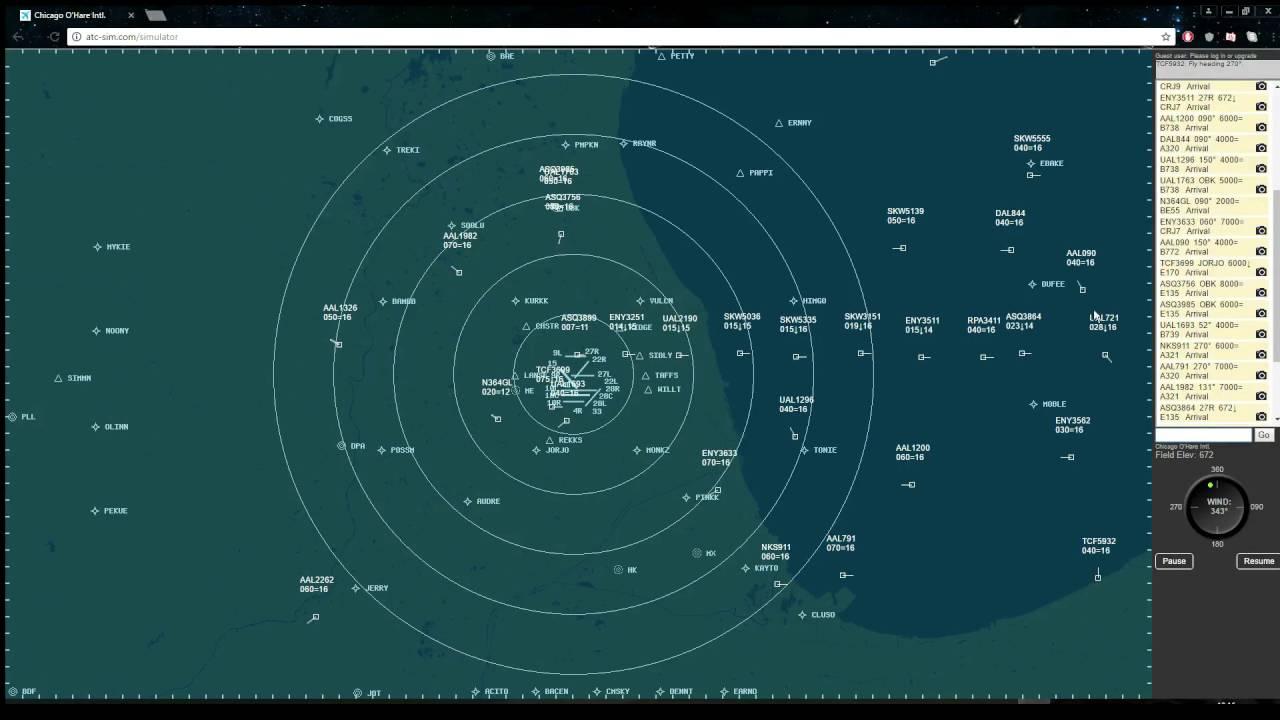 Air Traffic Control Simulator | Chicago O'Hare | Time lapse | ATC-SIM com
