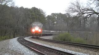 AMT 156 leads Amtrak 19, 4 hrs late @ Diamondhead 2-22-15