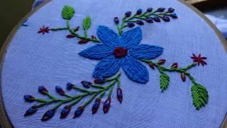 Hand Embroidery Split Stitch Flower Design By Amma Arts