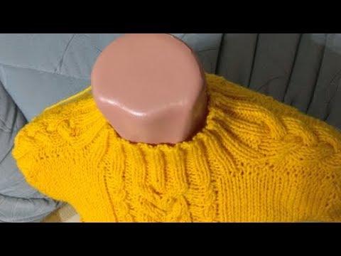 Свитер спицами реглан от горловины