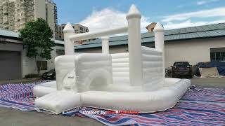 8x5.5m kids fun wedding all white bouncy castle with ball pit certified by EN14960