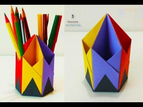 3 Awesome Useful Pen Holder||Paper Pencil Holder||Paper crafts life hacks Ever||DIY Crafts