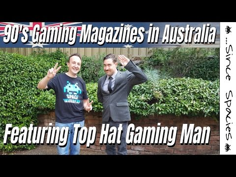 Australian Gaming Magazines In The 90's Featuring Top Hat Gaming Man
