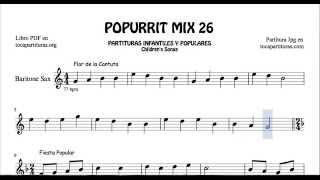 26 de 30 Popurrí Mix Partituras Populares Infantiles de Saxo Barítono Flor de la Cantuta