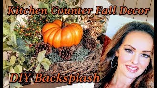 Kitchen Counter Fall Decor and DIY Painted Backsplash