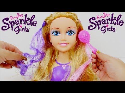 Boneca Funville Sparkle Girlz Muda de Cor de Faz Penteados de Verdade