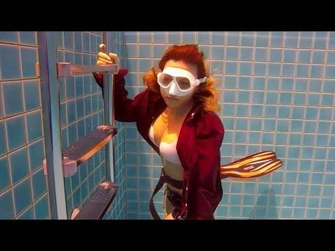 Love me underwater-Sophia's duck dives self-practice b4 go pro--freedive training