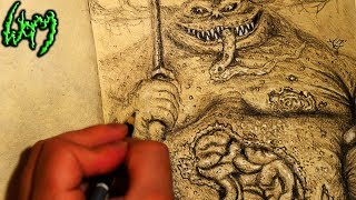 The Great Unclean One time lapse drawing (speed sketch)