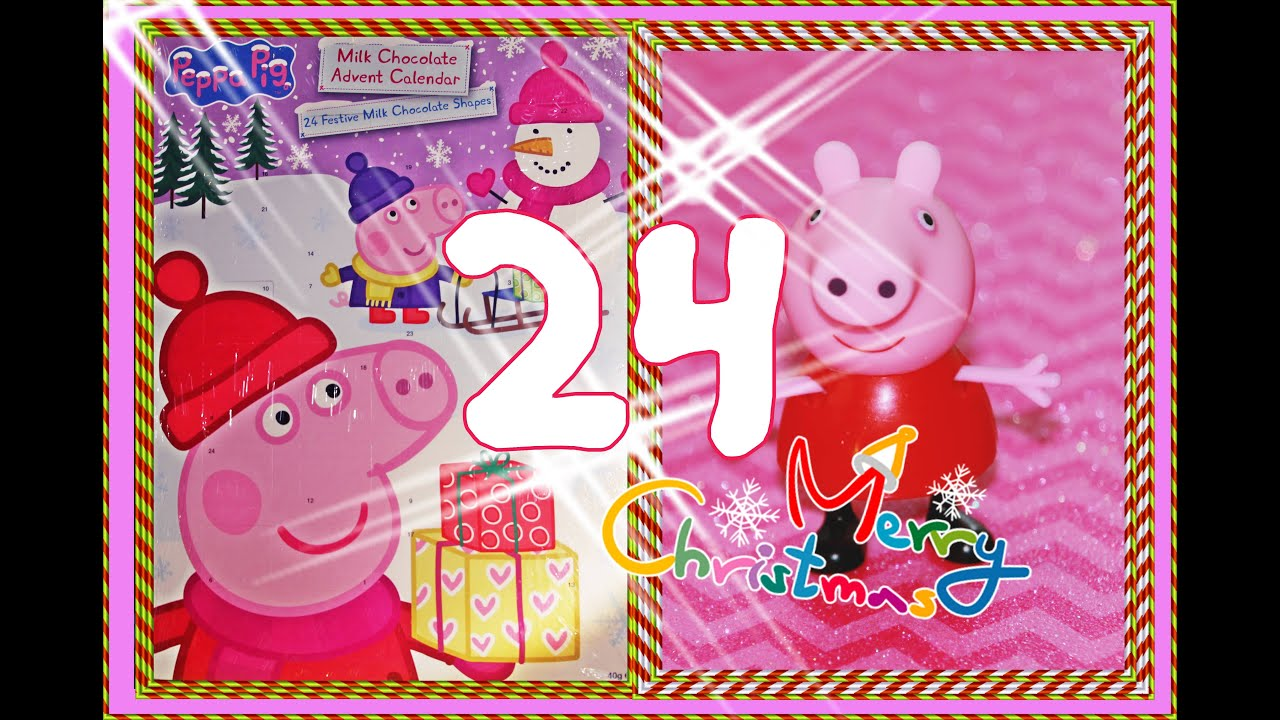 peppa pig opening advent calendar adventskalender 4k kinder unboxing choc berraschung 24. Black Bedroom Furniture Sets. Home Design Ideas