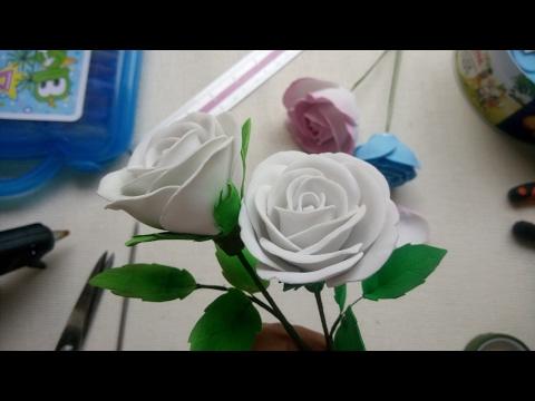 Hướng dẫn làm hoa hồng từ mút xốp