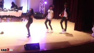 Ayo & Teo on stage dance battle between The BlackOut Crew while MobDiva Performs Live at EMU