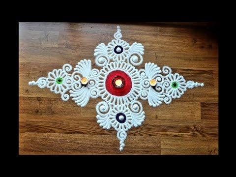 Quick, simple and creative free hand flower rangoli design - Diwali Rangoli designs with colours