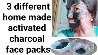 #Homemade charcoal face packs for clear skin||3 different face packs with charcoal in Telugu